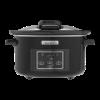Slow cooker met klapdeksel 4.7 liter, zwart