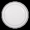 Luxe disposable borden met zilveren rand  19 cm