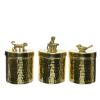 Opberg pot dier 3 assortie aluminium 10 x 13 cm, goud