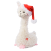 Lama met kerstmuts en muziek