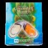 Mosselen Greenshell Nieuw-Zeelandse gekookte mossel in schelphelft